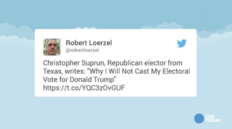Republican Texas elector says Trump 'not qualified for the office'